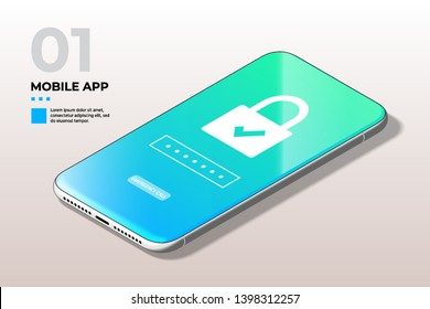 Privacy Concept. Modern Mobile Cell Phone with Lock Screen UI, UX and GUI Template in Trendy Blue, Green Gradient. Template for E-commerce, Responsive Website and Mobile Apps.