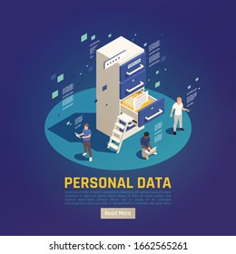 Privacy data protection gdpr isometric background with characters of reading people shelves and read more button vector illustration
