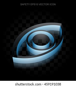 Privacy icon: Blue 3d Eye made of paper tape on black background, transparent shadow, EPS 10 vector illustration.