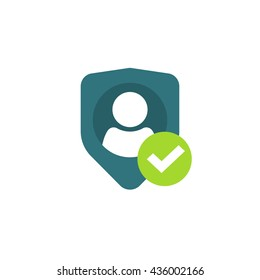 Privacy icon, flat shield with person silhouette symbol, personal protection sign, authentication security icon, secure confidentiality label