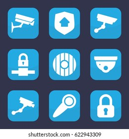 Privacy icon. set of 9 filled privacy icons such as security camera, Security camera, home security, door knob, shield