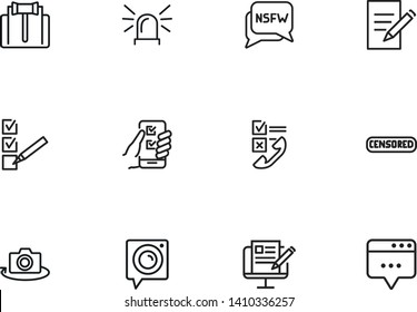 Privacy line icon set. Judge gavel, censored content, camera. Privacy concept. Can be used for topics like personal data, safety, protection