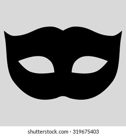 Privacy Mask icon from Primitive Set. This isolated flat symbol is drawn with black color on a light gray background, angles are rounded.