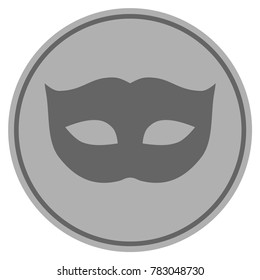 Privacy Mask silver coin icon. Vector style is a silver gray flat coin symbol.