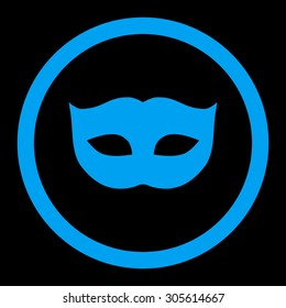 Privacy Mask vector icon. This rounded flat symbol is drawn with blue color on a black background.