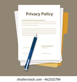 Privacy Policy document paper and pen