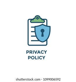 Privacy Policy graphic used for web page w icon symbol
