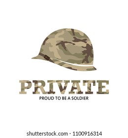 Private Army Soldier Military with Logo with camouflage baret logo Illustration