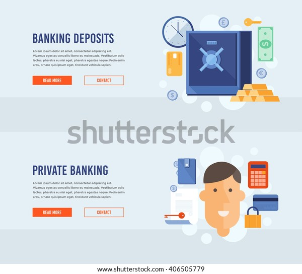 Design Bank Cor.Private Banking Banking Deposits Bank Deposited Stock Vector