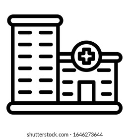 Private clinic building icon. Outline private clinic building vector icon for web design isolated on white background