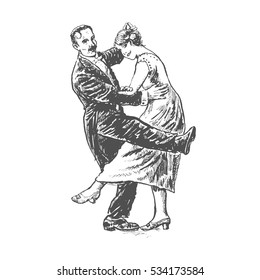 Private dancers. Couple dancing. Vintage vector lineart engraving style. Victorian Era hand drawn illustration