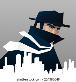 Private Detective investigator Spying Over the city illustration