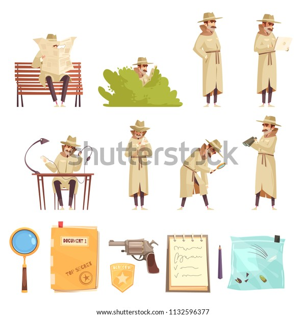Private Detective Spy Work Cartoon Icons Stock Vector Royalty Free 1132596377