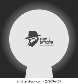 Private detective vector logo with slogan.