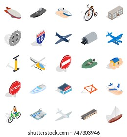 Private flying machine icons set. Isometric set of 25 private flying machine vector icons for web isolated on white background