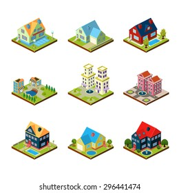 Private house real estate decorative 3d isometric isolated vector illustration
