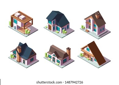 Private house. Residential modern buildings 3d low poly constructions isometric vector collection