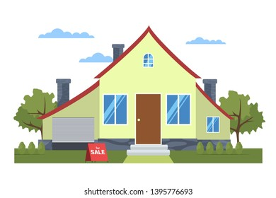 Private house for sale flat vector illustration. Building exterior, facade. Modern townhome architecture, property isolated design element. Townhouse, countryside home. Real estate business