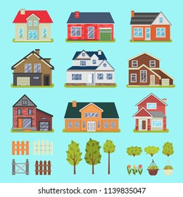 Private houses and garden elements color flat icons set