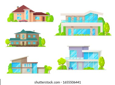 Private houses and homes, residential real estate vector flat facade icons. Modern family house, luxury villa, mansion and cottage, townhouse property, duplex apartments facades with garage and garden