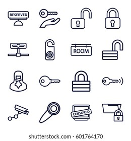 private icons set. Set of 16 private outline icons such as Security camera, do not disturb, lock, opened lock, censored woman, censored, room tag, reserved, door knob, key