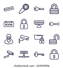 Private icons set. set of 16 private outline icons such as security camera, key, lock, opened lock, censored woman, room tag, reserved, door knob, security camera
