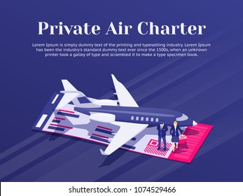 Private Jet Charter Flights. Air travel flat 3d isometric design concept. Pilot and stewardess stand near the plane. Banner for advertisement and website. Passenger Aircraft. Vector illustration
