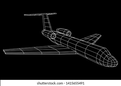 Private Jet Plane Abstract polygonal wireframe business luxury twin engine airplane. Travel aircraft, tourism and vacation concept. Wireframe low poly mesh vector illustration