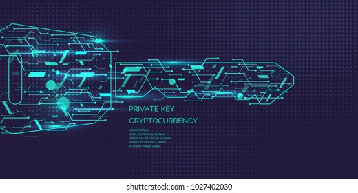 Private key for cryptocurrency. Global Digital technologies. Vector illustration