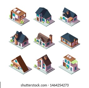 Private modern houses. City residential models of buildings miniature 3d low poly vector isometric illustrations. Building 3d, town private, house cottage