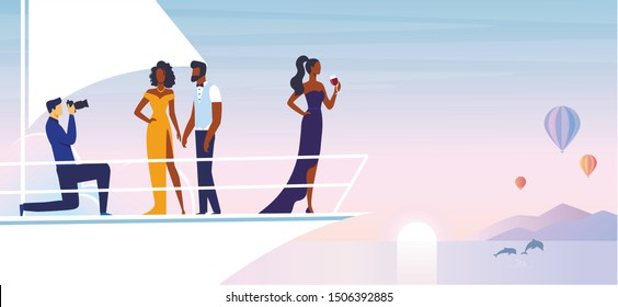 Private Photoshoot on Yacht Vector Illustration. Professional Photographer and African American Models Cartoon Characters. Young Man and Women in Fashionable Clothing. Luxurious Outdoor Recreation