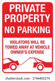 private property no parking violators will be towed away at vehicle owner's expense