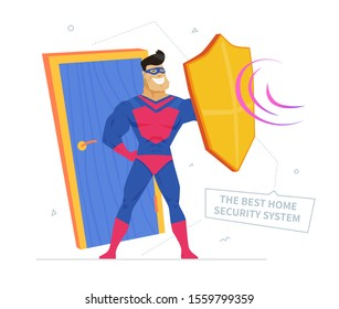 Private property safety metaphor flat vector illustration. Best home security system banner design element. Superhero defending door cartoon character. Thieves and burglars protection service