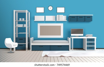 Private room realistic 3c interior with blue wall shelves television set desktop computer frames and carpet vector illustration