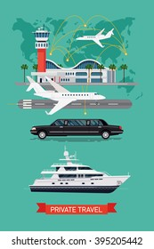 Private travel flat vector, abstract world map background. Executive airport terminal, private jet, limo vehicle and luxury yacht. Luxury flight, private airplane, exclusive service, premium travel