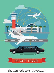 Private travel flat vector concept design. Executive airport terminal with private jet and limo vehicle. Luxury flight, private airplane, exclusive service, premium travel illustration