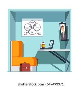 Private video conference booth room with chair, desk, white board and big screen monitor. Corporate business online teleconference. Flat style vector illustration isolated on white background.