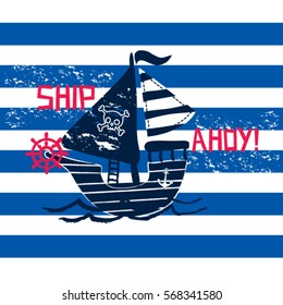 privateer on striped background, pirate ship cartoon, T-shirt design for kids vector illustration