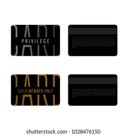 Privilege card template. Vector layout of modern stylish card of membership or loyalty. Front and back.