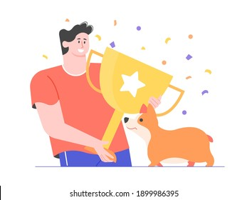 Prize, award, owner and pet celebrating success. Corgi dog winning first prize. Dog show, competition, contest. Vector flat illustration.