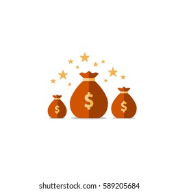 Prize fund, win money icon, budget plan, financial investments, fortune concept vector illustration