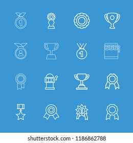 Prize icon. collection of 16 prize outline icons such as slot machine, medal, award, ribbon, trophy, number 1 medal. editable prize icons for web and mobile.