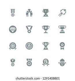 prize icon set. Collection of 16 filled prize icons included Jockey, Award, Medal, Medals, Trophy, Certification, Quality, Wreath, Success