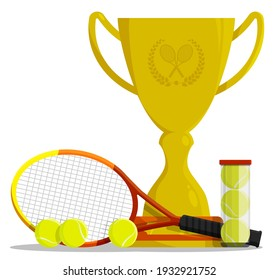 Prize sports cup with ball for participation in tennis competitions. Award trophy to winner of tournament. Vector in flat style
