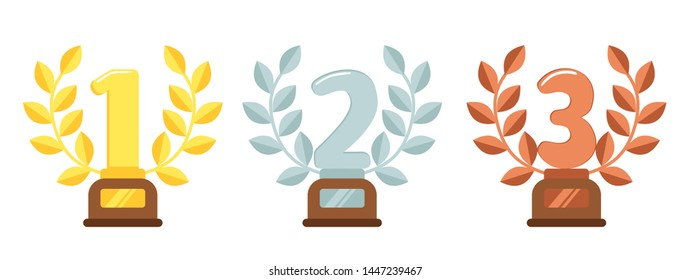 Prize trophies. Golden first place cup award, silver laurel wreath and awards bronze trophies. Trophy cups, winners awarding prize or sport rewards flat illustration