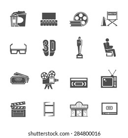 Prize winning film production and movie theater projector retro black icons set with abstract isolated vector illustration
