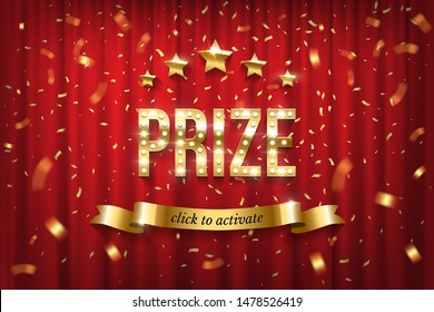 Prize winning web banner vector template. Golden typography with sparkling light bulbs on curtain. Gold shiny stars, click to activate text on ribbon vector illustration. Award winner notification