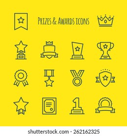 Prizes & Awards Vector Line Icons Set