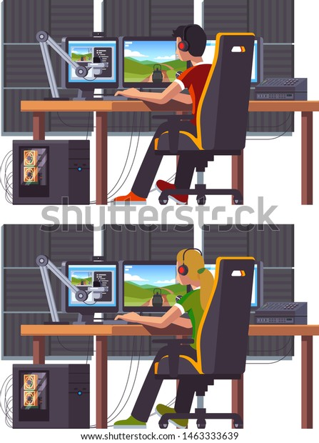 Pro Gamer Girl Boy Live Streaming Stock Vector (Royalty Free