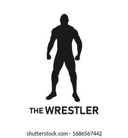 Pro wrestler silhouette logo concept. Standing muscular man pose. Male professional weight lifter icon. Body muscle sign or symbol. Gym training exercise - Simple vector black and white illustration.